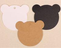 bear wedding greeting - DHL cm Kraft Paper Party Wedding Favor Gift Label Wish Greeting Cards DIY Bear Blank Tags Label Clothing Price Hang Tag