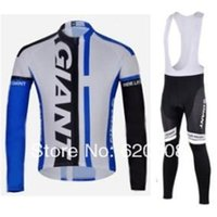 Wholesale 2014 Blue Giant Autumn Long Sleeve Cycling Jersey Lycar BIB Pant Set No Fleece Inside Sports wear Bicycle clothing Q14005