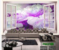 Wholesale Customize D window peonies wallpaper wall sticker wallpapers mural wallpaper non wvoen wallpaper factory direct20152296