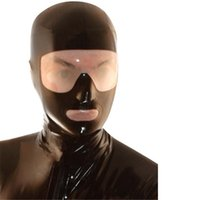 accessories costumes sexy - Latex Mask Hoods Fetish Rubber Mask Transparent Eyes and Mouth Latex Sexy Hoods for Men Sexy Cosplay Costume Masks