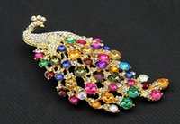 amber peacock - 2016 new high quality oversized colorful crystal diamond peacock brooch pins jewelry accessories boutique selling Preferred
