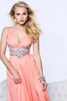 apple wait - 2016 New Deep V Neck Empire Beaded Wait Long Chiffon Prom Dress Custom Made Available In Any Size Color