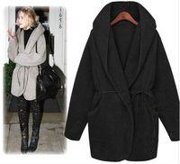 Wholesale 2014 new loose cloak warm Women s coat thick plush fur hooded coat women s jacket free belt black