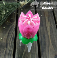 Wholesale Music candle Birthday Party Wedding Lotus Sparkling Flower Candles light Event Festive Supplies Birthday Party Cake Musical