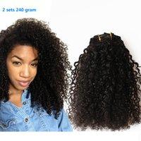 Wholesale g Brazilian Virgin Hair Kinky Curly Clip In Hair Extensions B C African American Clip In Human Hair Extensions A Grade