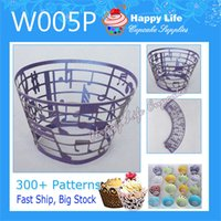 Wholesale 24 W005P Purple Color for Weddings Laser Cut Cupcake Wrappers Wedding Cake Decorations Cupcake wrappers Cupcake Holder