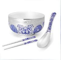 Wholesale s990 pure silver Bowl silver spoon silver chopsticks Flatware Sets soup ladle ice cream spoon tableware