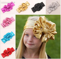 bandana headband girl - 2016 Shiny leather bow headband for children baby girls big elastic metal color head wraps turban bands bandana headband hair accessories