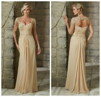 Wholesale Elegant Long Sleeves Lace Mother Dresses Sweetheart Applique Hollow Back Chiffon Formal Evening Dresses Long Prom Gowns Custom Made