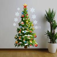 Wholesale Christmas Festival Tree Stars Removable Waterproof PVC Wall Sticker Home Decor Adesivo De Parede Vinyl D Window Sticker cm