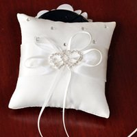 Wholesale Hot sell Ivory Ribbon Pearl Wedding Ceremony Satin Ring Bearer Pillow Ring Pillows Flower Crystals Double heart