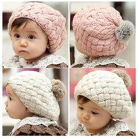 Girl Spring / Autumn Crochet Hats baby hat kids baby photo props beanie,faux rabbit fur gorros bebes crochet beanie toddler cap for 4 months-3 years old girl