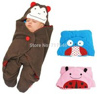 polar fleece blanket - 1 pieces Baby Sleeping Bag Cartoon hooded Blanket Polar Fleece Animals Swaddle