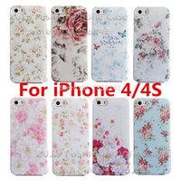 Wholesale Romantic flower Styles Colorfull Painted Shell Cover Case for Apple iPhone S G Cases For iPhone4 iphone4S
