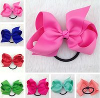 Wholesale 25 colors inch high quality Boutique Ribbon Hair Bows WITH elastic rubber band for hairband for kids hair accessories