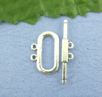 Wholesale 20Sets Silver Tone Holes Toggle Clasps mm