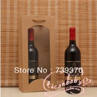 Cheap 10pcs 36*16*8cm High Quality Thickening Kraft Paper Red Wine Bag Packaging Bags with Handle for Gift Candy Wedding Party Favors