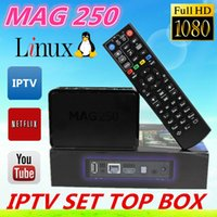 Wholesale 5pcs linux system iptv set top box Mag250 HD p satellite receiver support lan wifi youtube youpron Mag iptv Box