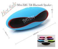 pa speaker - Mini X6U X6 Rugby Football Stereo Speaker Subwoofers Mini Speakers Portable Soccer Wireless Bluetooth Speakers With U Disk TF Card Mic PA