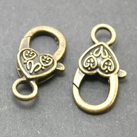 Cheap 120pcs -14x27mm Antique Bronze Heart Shape Alloy Lobster Clasp Vintage Metal Clasps Jewelry Findings Fit Necklace Bracelet DH-FKA004-77