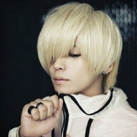 Wholesale new fashion Korean sexy boy s short Light blond synthetic hair cosplay party wig free wig cap