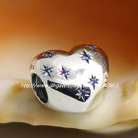 Wholesale New S925 Sterling Silver Thread Cinderella s Dream Charm Bead with Blue Cz Fits European Pandora Jewelry Bracelets Necklaces
