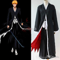 Wholesale BLEACH Kurosaki Ichigo Uniform Cosplay Costume Cloak Top Pants MU