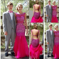 Wholesale 2015 Bling Evening Dress Sheer Neck Crystal Sequins Tulle Champagne Silver Green Fuchsia Backless Prom Dress Sparkly Celebrity Pageant Dress
