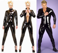 catsuits - Men Women Black Catsuits Front Zip Vinyl Leather Jumpsuits Original Suits Shiny Women Catsuits
