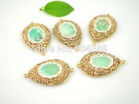 amazonite gem - 5pcs Druzy Gem Stone pendant Amazonite with Rhinestone connector in Gold mint color Jewelry making