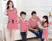 Cheap 2015 Stripe Family Set dress clothes for mother and daugter T