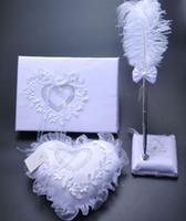 Wholesale 3Pcs set Burlap Hessian Lace Wedding Guest Book Pen Set Ring Pillow Garter Decoration Bridal Product