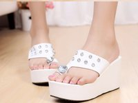 Wholesale on the new spring with drill female cool slippers slippers large base sponge female sandals flip flops