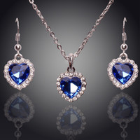 american titanic - 2016 Austria crystal Titanic Rose s Blue Dangle Earrings necklace jewelry sets The Heart Of The Sea Classic Wedding