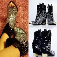 Wholesale 2014 Luxury Free Ship Women s Shoes Rhinestone Crystals Boots Thigh Stretchy High Heels Warm Boots Cheap Black Martin Boots Size X