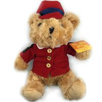best police uniforms - 20CM Lovely Teddy Bear With Red Police Uniform Toys Stuffed Plush Doll Best Christmas Gifts Special Offer NT061B