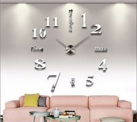 Wholesale 2015 new sale wall clock clocks reloj de pared watch d diy Acrylic mirror Stickers Quartz Modern Home Decoration
