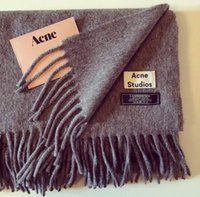 knitted cashmere scarf - Canada Acne Wool Scarf Solid Unisex Pashmina Women Wraps Grey black with Tassels Sample Style