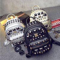 Wholesale Cute Mini Rivet Backpack for Women Black Gold Silver Backpacks Korean Backpack Style Christmas Gift For Girl Friend Fashion Bags New