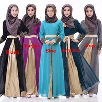 Wholesale Emmani Fashion Newest Popular Abaya Design Chiffon Two Layers Long Sleeves Islamic Plus Size Dubai Long Robe Africa Muslim Arab Long Dresses