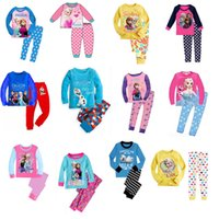 Wholesale Frozen Baby Toddler Kids Cartoon Sleepwear Pajamas Set Boy Girl Pyjamas homewear Loungewear nightwear size1 T