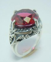 Cheap 925 sterling silver European and American fashion princess palace restoring ancient ways costly set auger ruby ring wholesale