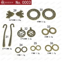 Cheap Wholesale DIY retro bronze round ring connector fish clock charms, alloy metal bookmarks, vintage pendant jewelry making beads