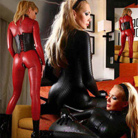 Wholesale New Sexy Women Lingerie Straitjacket Conjoined Open Crotch Sm Patent Leather Tights For Women Nightclub Stage Performance Queen Suit