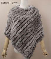 retail shawls - 2015 Genuine Rabbit Fur Poncho shawl jacket coats Whole Sale Retail Factory direct sales women s Dress