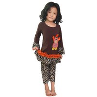 turkey - Children Cotton Clothing Sets Thanksgiving Fall Clothes Brown with Leopard Ruffle Turkey Outfit Boutique Clothing Girls Turkey Outfit
