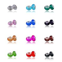 Wholesale Fashion Pandora Glass Beads Loose Beads crystal Glass beads ten colors lowest price and high quality