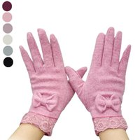 Wholesale w1027 Best seller Butterfly Knot Soft And Warm Female Wool Cotton Warm Glove