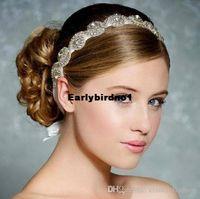 Cheap Free Shipping Rhinestone Bridal Headbands Two Row Crystal Ribbon Tie Backs Prom Party Hair Accessory Real Photo 2015 Wedding Accessories