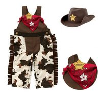 baby boy cowboy clothes - 2015 Spring Baby Toddler Clothes Classic Cowboy Modelling Suspender Trousers Cap Scarf Boys Set Baby Romper Suits Outfits J4131 BJ